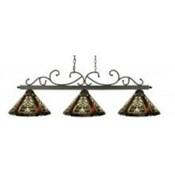 Three Light Weathered Bronze Multi Color Tiffany Glass Pool Table Light - Z-Lite 142WB-Z14-16