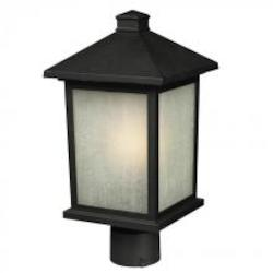 Black 1 Light 12in. Height Outdoor Post Light with Glass Square Shade - Z-Lite 507PHM-BK