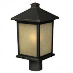 Black Craftsman / Mission 1 Light 12In. Height Outdoor Post Light With Glass Square Shade