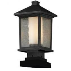 Oil Rubbed Bronze 1 Light Post Light with Clear Glass Shade - Z-Lite 538PHM-SQPM-ORB