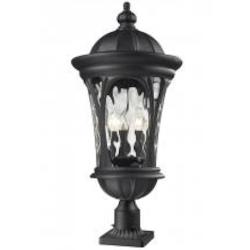 Black Doma 5 Light Black Post Light With Clear Glass Shade