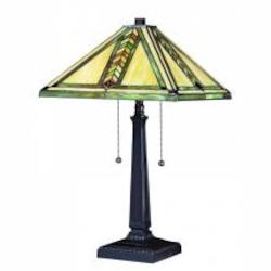 Chestnut Bronze 2 Light Down Lighting Table Lamp with Tiffany Glass Square Shade