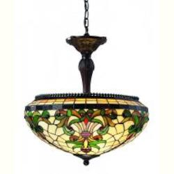 Chestnut Bronze 3 Light Up Lighting Foyer Pendant With Tiffany Glass Round Shade