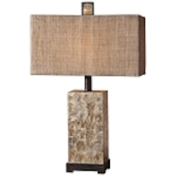 "Rustic 1-Light 29"" Mother of Pearl Antiqued Table Lamp 27347-1"