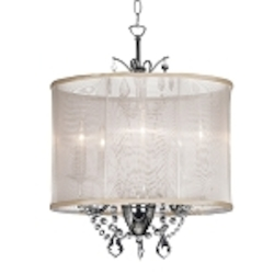"Shaded Light Design 3-Light 14"" Crystal Mini Chandelier with Oyster Color Organza Shade SKU* VNA-14-3-117"