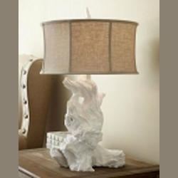 "Driftwood 1-Light 30"" White Plaster Table Lamp with Raw Cotton Drum Shade 04438"
