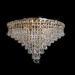 "Invisible Design 8-Light 18"" Chrome or Gold Ceiling Flush Mount with European or Swarovski Crystals SKU# 10367"