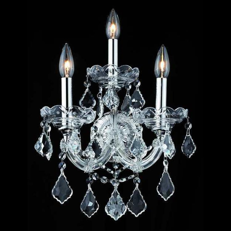 Elegant Crystal Wall Sconces : Maria Theresa Collection 3-Light 12