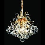"Toureg Collection 3-Light 12"" Gold Mini Chandelier with Clear Swarovski Spectra Crystal 8000D12G/SA"