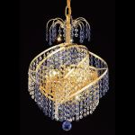 "Spiral Collection 3-Light 14"" Gold Mini Chandelier with  Swarovski Strass Crystal 8053D14G/SS"