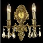 "Monarch Collection 2-Light 10"" French Gold Wall Sconce with Golden Teak Smoky Royal Cut Crystal 9602W10FG-GT/RC"