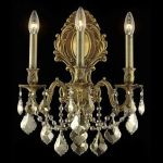 "Monarch Collection 3-Light 14"" French Gold Wall Sconce with Golden Teak Smoky Royal Cut Crystal 9603W14FG-GT/RC"
