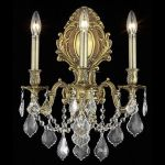 "Monarch Collection 3-Light 14"" French Gold Wall Sconce with Clear Elegant Cut Crystal 9603W14FG/EC"