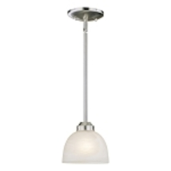 "Paradox Collection 1-Light 6"" Brushed Nickel Mini Pendant with Etched Marble Glass 1421-84"