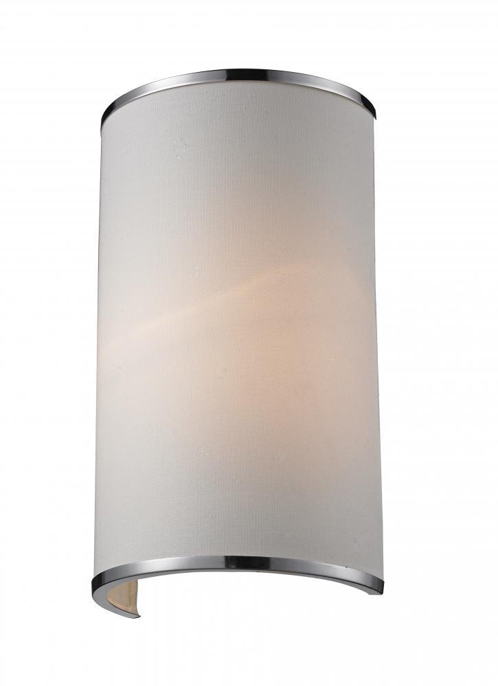 One Light Chrome White Shade Wall Light - Z-Lite 164-1S