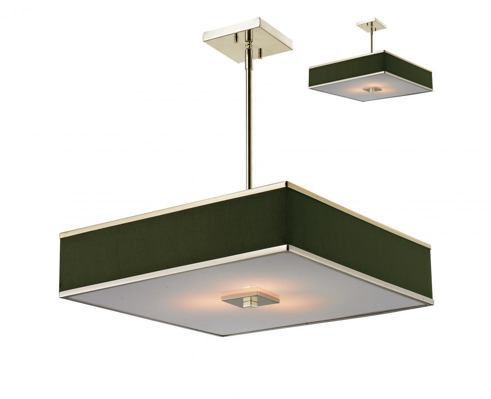 Brushed Nickel 3 Light Pendant With Black Fabric Square