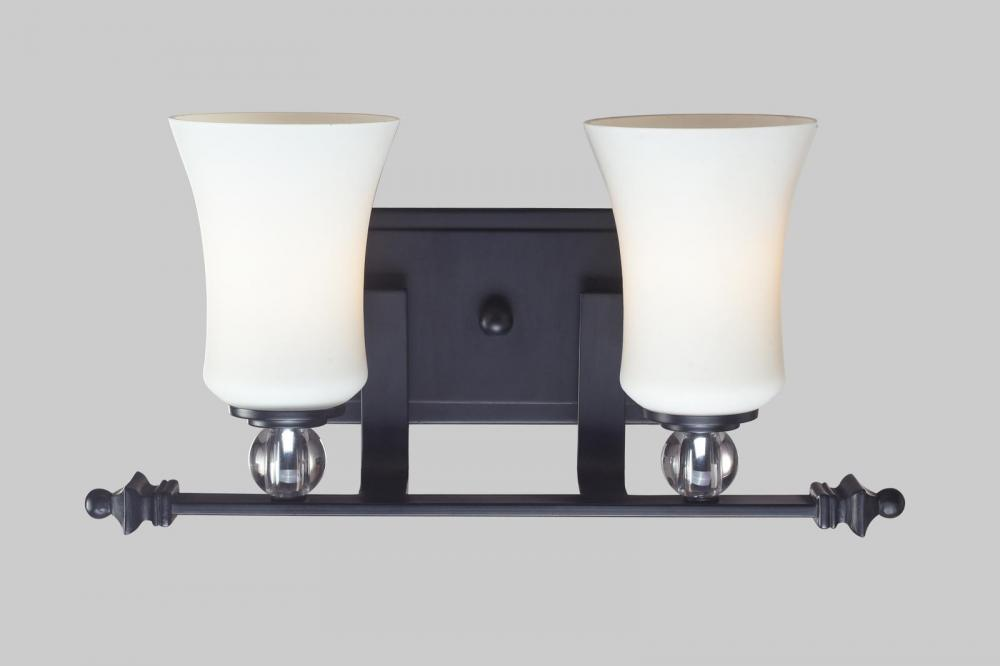 matte black harmony 2 light bathroom vanity light with white glass