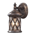 "Barrington Gate Collection 1-Light 10"" Hazelnut Bronze Outdoor Wall Lantern with Designer Water Glass 42036/1"