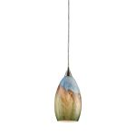"Geologic Collection 1-Light 10"" Satin Nickel Mini Pendant with Blown Glass 10077/1"