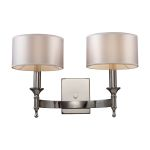 "Pembroke Collection 2-Light 19"" Polished Nickel Wall Sconce with Silver Drum Shades 10122/2"