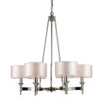 "Pembroke Collection 6-Light 31"" Polished Nickel Chandelier with Silver Drum Shades 10123/6"
