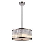 "Braxton Collection 3-Light 16"" Polished Nickel Drum Pendant with Ribbed Glass Cylinders 10128/3"