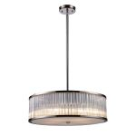 "Braxton Collection 5-Light 24"" Polished Nickel Drum Pendant with Ribbed Glass Cylinders 10129/5"