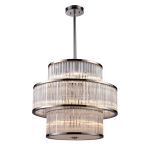 "Braxton Collection 15-Light 24"" Polished Nickel Drum Pendant with Ribbed Glass Cylinders 10130/5+5+5"