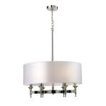 "Pembroke Collection 6-Light 30"" Polished Nickel Chandelier with Silver Drum Shade 10162/6"