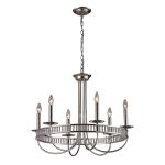 "Braxton Collection 6-Light 29"" Polished Nickel Chandelier with Ribbed Glass Cylinders 10231/6"
