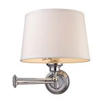 "Westbrook Collection 1-Light 12"" Polished Chrome Swing Arm Wall Sconce with White Shade 11210/1"