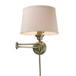 "Westbrook Collection 1-Light 12"" Antique Brass Swing Arm Wall Sconce with Cream Shade 11220/1"