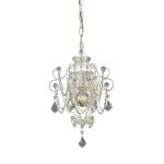 "Elise Collection 1-Light 15"" Antique White Mini Chandelier with Crystal Accents 12017/1"