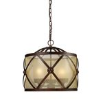 "Cumberland 3-Light 19"" Classic Bronze Pendant with Amber Organza Drum Shade 14051/3"