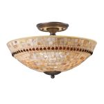 "Roxana Collection 3-Light 16"" Aged Bronze LED Semi-Flush Mount with Capiz Shell Mosaic Glass 15013/3-LED"