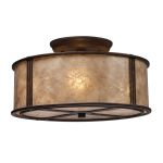 "Barringer Collection 3-Light 13"" Aged Bronze Semi-Flush Mount with Mica Drum Shade 15031/3"