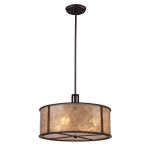 "Barringer Collection 4-Light 19"" Aged Bronze Pendant with Mica Drum Shade 15032/4"