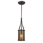 "Barringer Collection 1-Light 19"" Aged Bronze Mini Pendant with Mica Shade 15033/1"