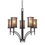 "Barringer Collection 5-Light 31"" Aged Bronze Chandelier with Mica Shades 15035/5"