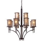 "Barringer Collection 12-Light 40"" Aged Bronze Chandelier with Mica Shades 15036/8+4"