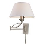"Elysburg Collection 1-Light 24"" Satin Nickel Swing Arm Wall Lamp with Beige Shade 17016/1"
