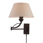 "Elysburg Collection 1-Light 12"" Aged Bronze Swing Arm Wall Lamp with Shade 17026/1"