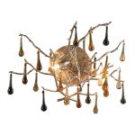 "Bijou Collection 2-Light 14"" Silver Leaf Multi Color Crystal Wall Sconce 1720/2"