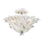 "Circeo Collection 2-Light 17"" Antique White Floral Semi-Flush Mount with Crystal 18111/2"