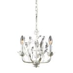 "Circeo Collection 3-Light 12"" Antique White Floral Mini Chandelier with Crystal 18112/3"