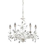 "Circeo Collection 5-Light 21"" Antique White Floral Chandelier with Crystal 18113/5"