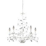 "Circeo Collection 5-Light 26"" Antique White Floral Chandelier with Crystal 18114/5"
