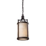 "Spanish Mosaic Collection 1-Light 9"" Aged Bronze Mini Pendant with Alabaster Stone 19000/1"