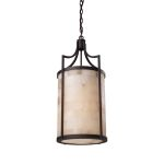 "Spanish Mosaic Collection 3-Light 12"" Aged Bronze Pendant with Alabaster Stone 19002/3"