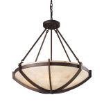 "Spanish Mosaic Collection 6-Light 26"" Aged Bronze Pendant with Alabaster Stone 19003/6"